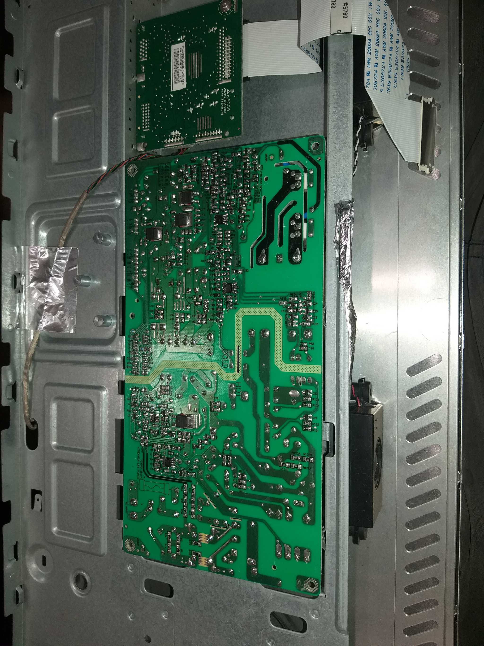 Back panel of monitor showing circuit board.
