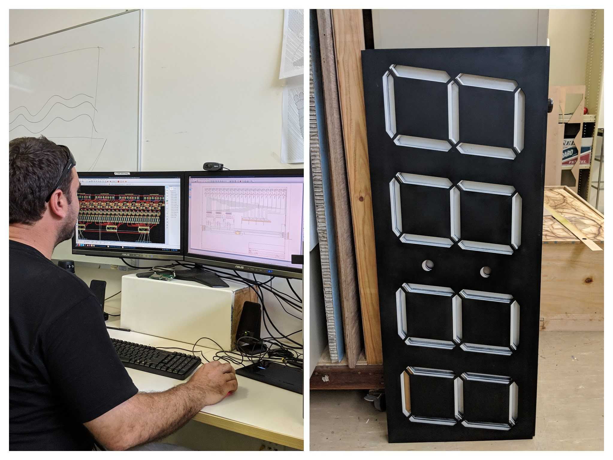 Matt working on a LED clock printed circuit board design in KiCad and a picture of the large clock.