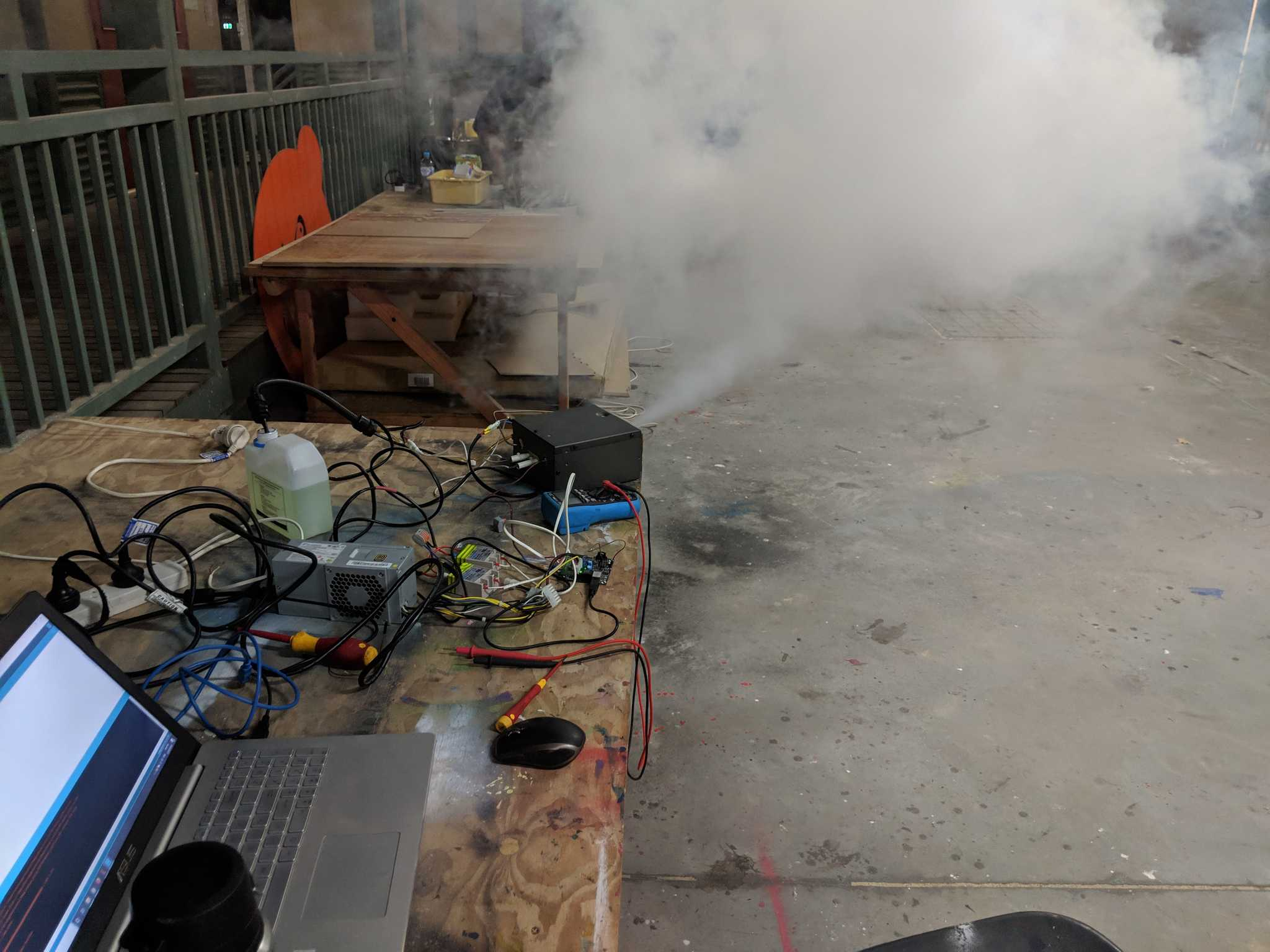 Smoke machine components being proto-typed for an art installation.